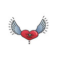 tattoo heart with wings on white background vector image vector image
