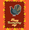 thanksgiving card with maple leaf turkey vector image