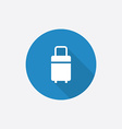 travel bag Flat Blue Simple Icon with long shadow vector image vector image