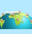 travelling airplane around globe vector image vector image