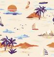vintage seamless island pattern landscape vector image vector image