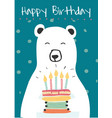 White polar bear holding a birthday cake idea