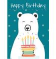 white polar bear holding a birthday cake idea