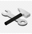 Wrench and hammer isometric 3d icon vector image
