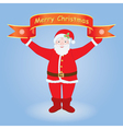 Santa holding Merry Christmas banner vector image
