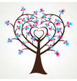 abstract heart shape hand tree vector image