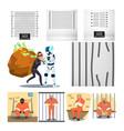 arrested character criminal and prison set vector image
