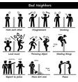 bad neighbors stick figure pictogram icons a set vector image