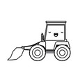 bulldozer flat icon monochrome kawaii silhouette vector image vector image