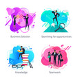 business solution knowledge and teamwork set vector image