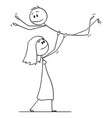 cartoon heterosexual couple woman lifting vector image