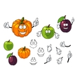 Cartoon pumpkin plum and apple vector image vector image