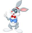 Cartoon smart rabbit thinking isolated on white ba vector image