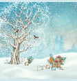 christmas winter scene vector image vector image