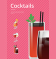 cocktails poster with bloody mary and whiskey cola vector image