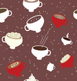 Coffee cups seamles pattern vector image