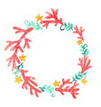 coral seaweed and starfish wreath watercolor vector image vector image