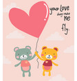 cute cartoon teddy bears flying with heart vector image