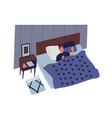 cute young man sleeping in bedroom at night male vector image