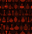dark seamless texture with rows of variety vases vector image vector image