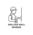 drilling wall worker line icon sign vector image vector image