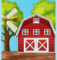 farm scene in nature with barn and windmill vector image vector image