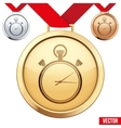 Gold Medal with the symbol of a stopwatch inside vector image vector image