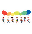 group of pupils mix race walking with chat bubbles vector image vector image