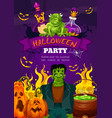 halloween night party poster of zombie and pumpkin vector image vector image