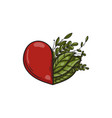 heart symbol with green leaves vector image vector image
