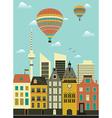 Hot air balloon over city vector image vector image