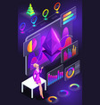 isometric view of smartphone screen holographic vector image vector image