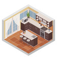 kitchen interior isometric composition vector image