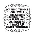 love quote and saying my mind thinks you the vector image