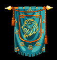 medieval knight banner with image head a vector image