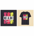 miami surf graphic tee shirt design grunge vector image vector image