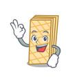 okay waffle character cartoon style vector image vector image