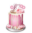 pink cake with peony flowers on top vector image