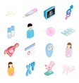 Pregnancy isometric 3d icons set vector image vector image