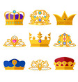 princess diadems and golden crowns of kings vector image vector image
