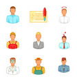 principal staff icons set cartoon style vector image vector image