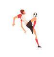 professional soccer player shooting ball football vector image vector image