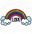 Rainbow and cloud with peace and love message