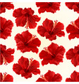 seamless texture red hibiscus simple tropical vector image vector image