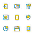 set of 9 flat line business icons banking and vector image vector image