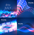 set of american independence day background vector image