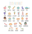 stylish food alphabet a to z alphabet made of vector image vector image