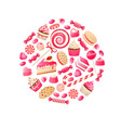 sweet candy chocolate bars lollipop bonbon and vector image