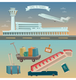 time to travel airplane airport with plane vector image vector image