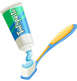 Toothpaste on the the toothbrush vector image